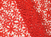 Red 47 Inches DTM Flower Embroidered Lace Fabric With African Cord Lace By Azo Free