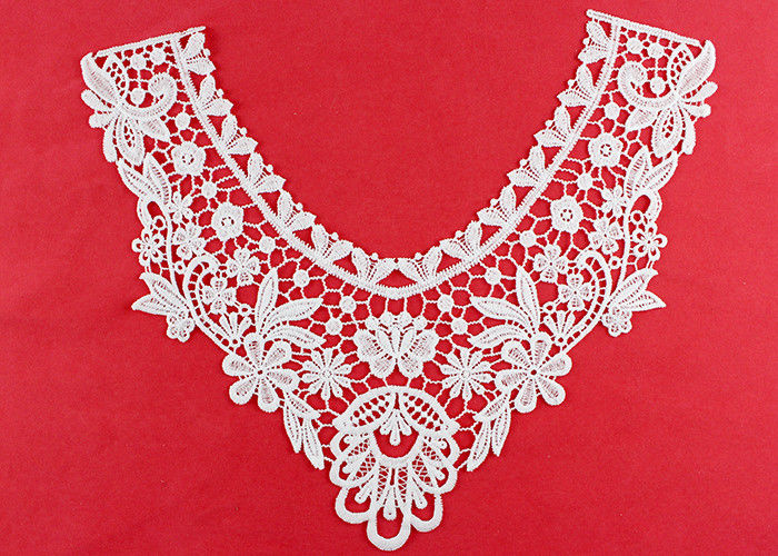 OEM Floral Guipure Lace Collar Applique With Heavy Embroidery By OEKO TEX 100